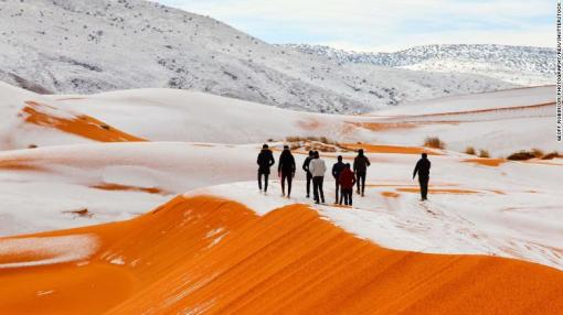 Snow covered dumes in the Sahara Desert. Photo by Geoff